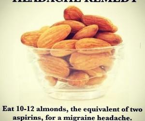 headache, almond, and food image