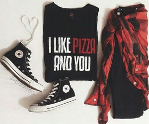 fashion, pizza, and outfit image