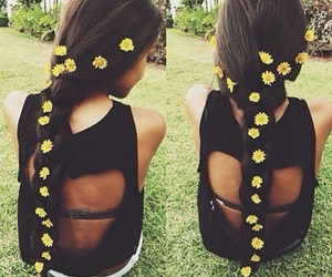 flowers, hair, and braid image
