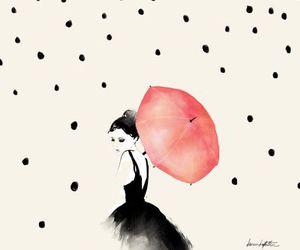 girl, rain, and art image