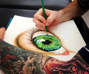 eye, tattoo, and drawing image