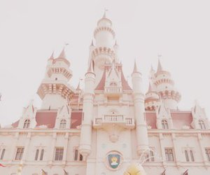 castle, pastel, and pink image