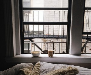 bed, coffee, and window image