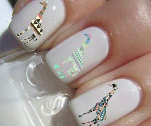 nails, giraffe, and white image