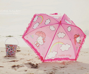 beach, rainbown, and umbrella image