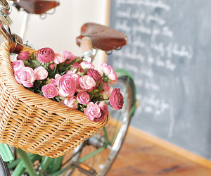 basket, bicycle, and flowers image