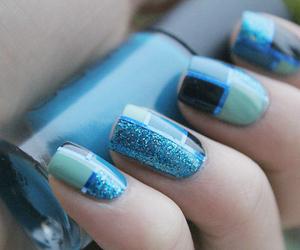 nails, blue, and nail polish image