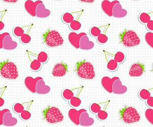 wallpaper, strawberry, and cherry image