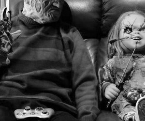 Chucky, black and white, and Freddy image