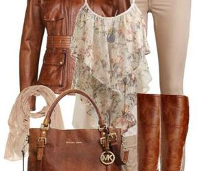 blouse, boots, and leggings image