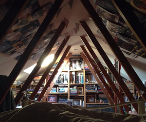 books, bed, and home image