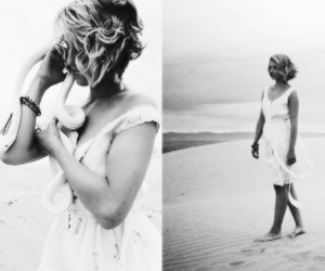 bare, black and white, and dianna agron image