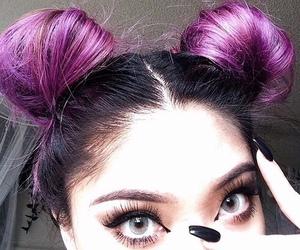 hair, eyes, and purple image