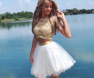 white prom dress, junior prom dress, and short prom dress image
