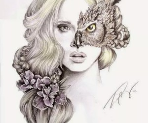 girl, art, and owl image