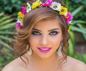flower, girl, and make up image