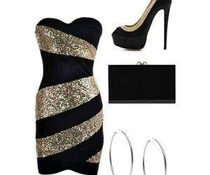 black clutch, hoop earrings, and party outfit image