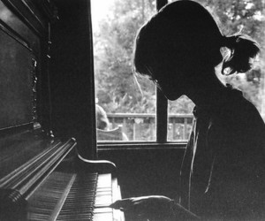 piano, girl, and black and white image