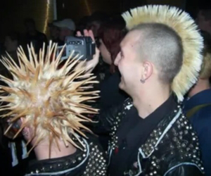 blonde, leather jacket, and Liberty spikes image