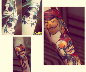 Collage, gorillaz, and tattoo image