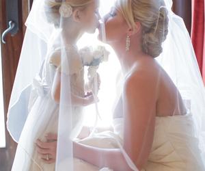 wedding, kiss, and dress image
