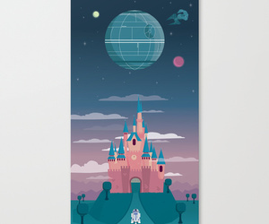 art, blue, and death star image