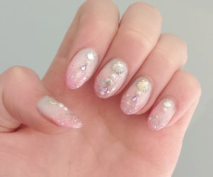 pink, nails, and mermaid image