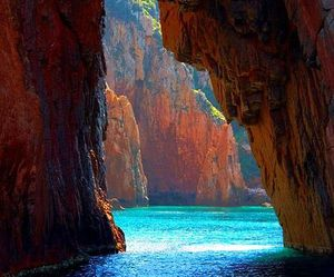cave, sea, and water image
