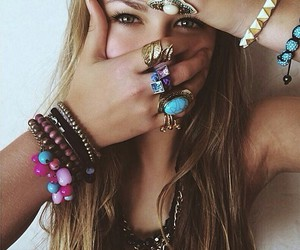 girl, rings, and hair image