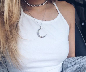 blonde, girl, and necklace image