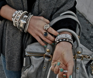 bag, bracelet, and clothes image
