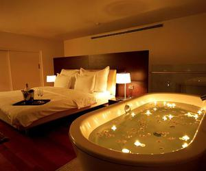 bed, romantic, and bath image