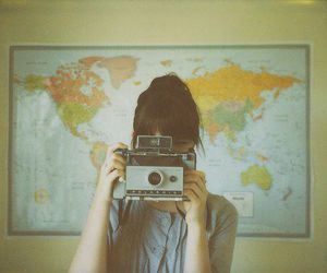 girl, camera, and map image
