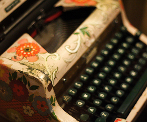 typewriter, vintage, and flowers image