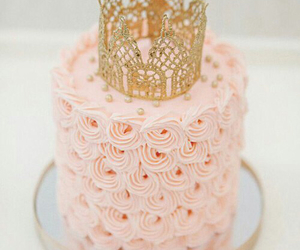 cake, pink, and crown image
