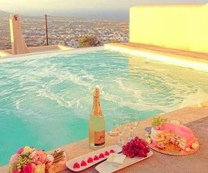 champagne, pool, and pretty image