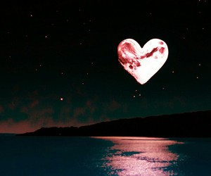 moon, heart, and night image