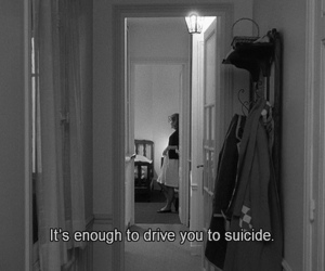 black and white, suicide, and text image