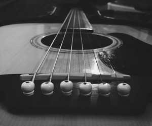 black and white, grunge, and guitar image
