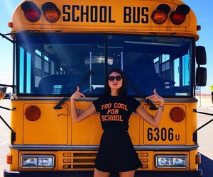 girl, school, and bus image