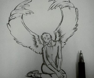 <3, angel, and drawing image