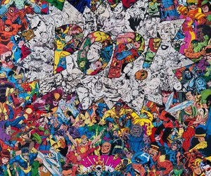 art, super heroes, and collages image