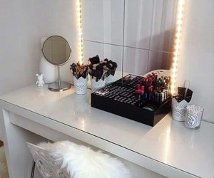makeup, bedroom, and vanity image