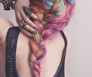 colorful hair, rainbow hair, and pastel hair image