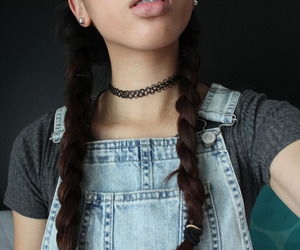 girl, hair, and dungarees image