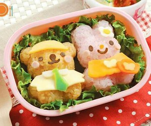 bear, bunny, and food image