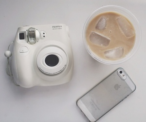 coffee, iphone, and polaroid image
