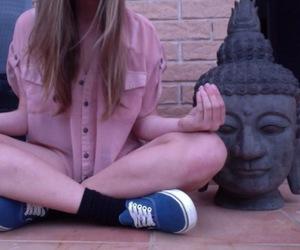 Buddha, girl, and mujer image
