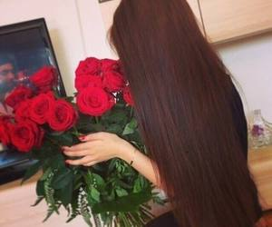 hair, rose, and flowers image