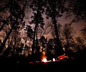 night, stars, and fire image